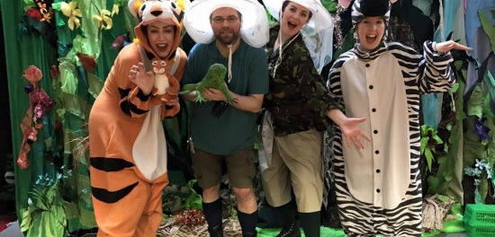 Four performers (including Extant actor Steve) dressed, from left to right as a tiger, two safari explorers and a zebra!