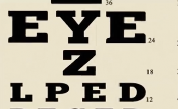 Image still from the trailer video showing an eye chart - amongst the letters, you can read E Y E Z